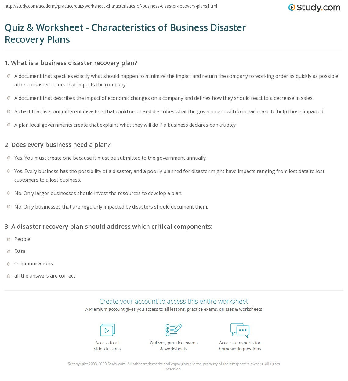 Dissertation disaster recovery planning – Sample Business Contingency Plan