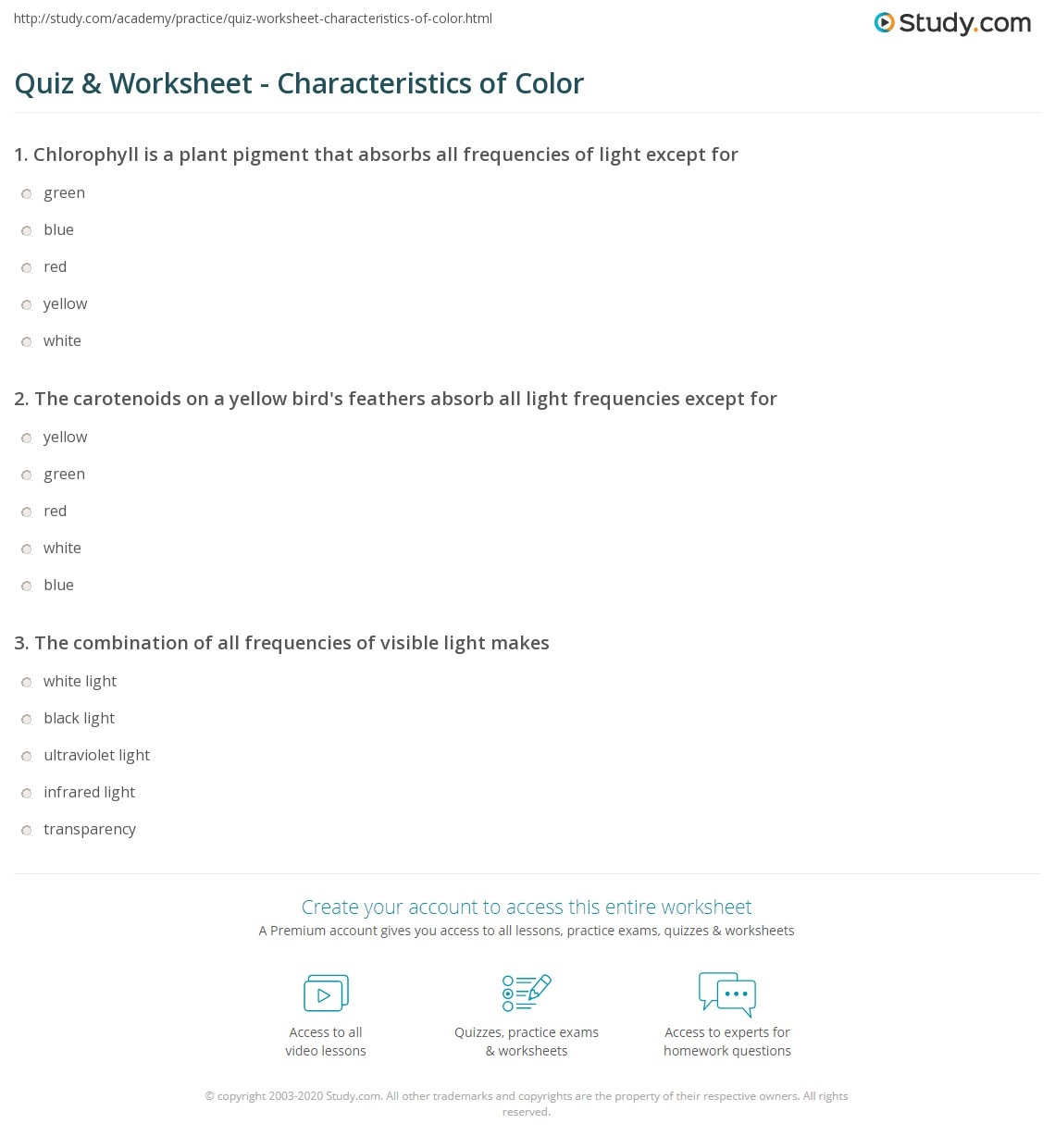 quiz worksheet characteristics of color. Black Bedroom Furniture Sets. Home Design Ideas