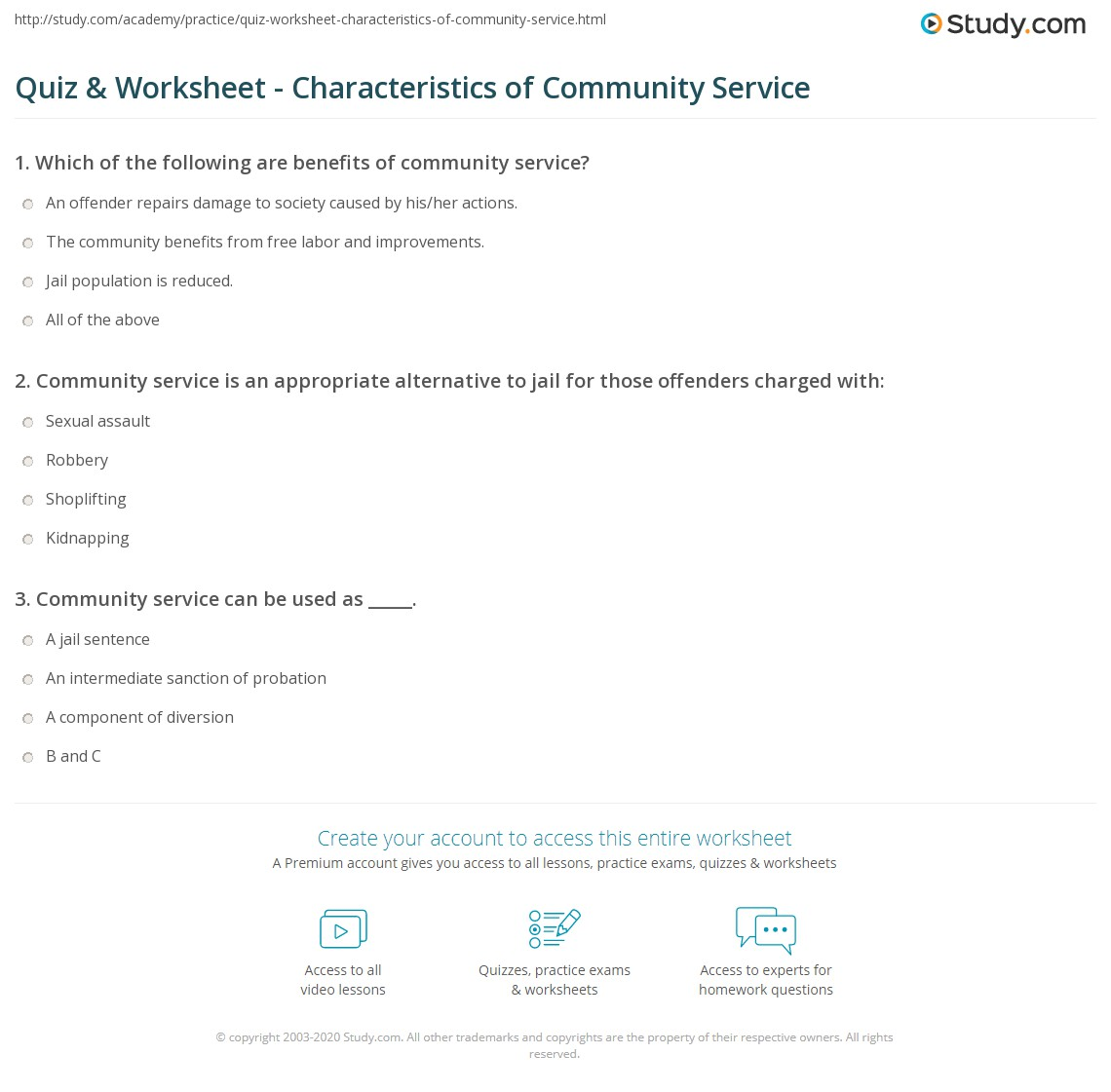 Quiz Worksheet Characteristics of Community Service – Community Service Worksheet