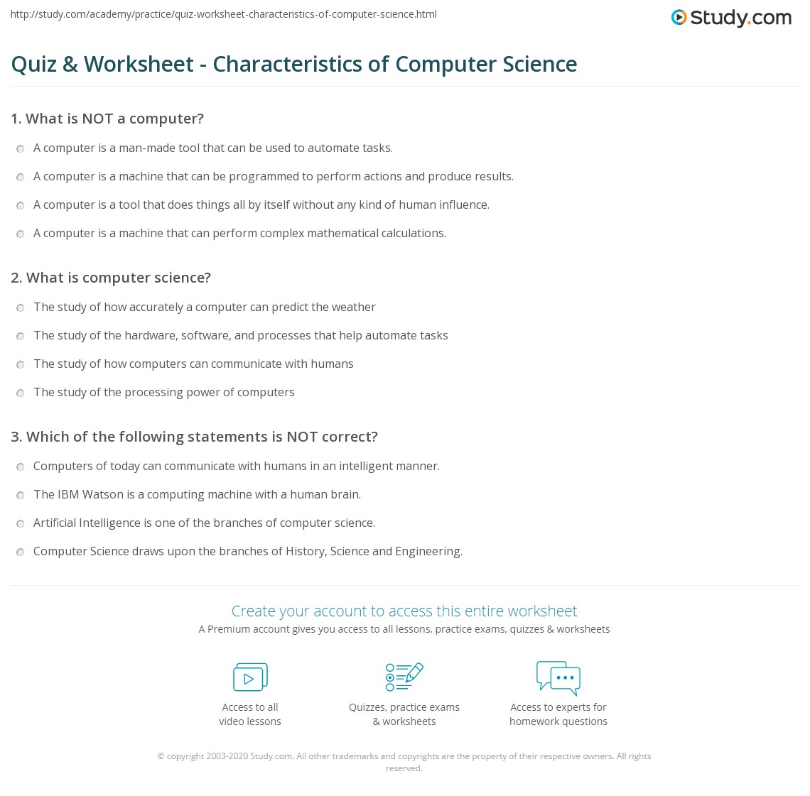 Quiz Worksheet Characteristics of Computer Science – Computer Worksheets