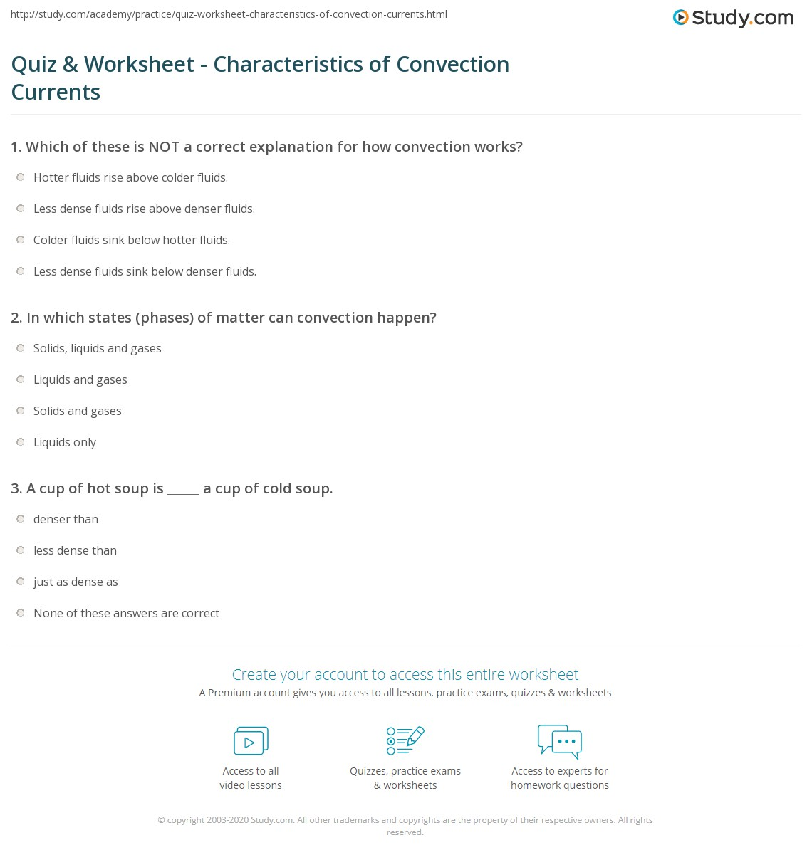 Quiz & Worksheet - Characteristics of Convection Currents | Study.com