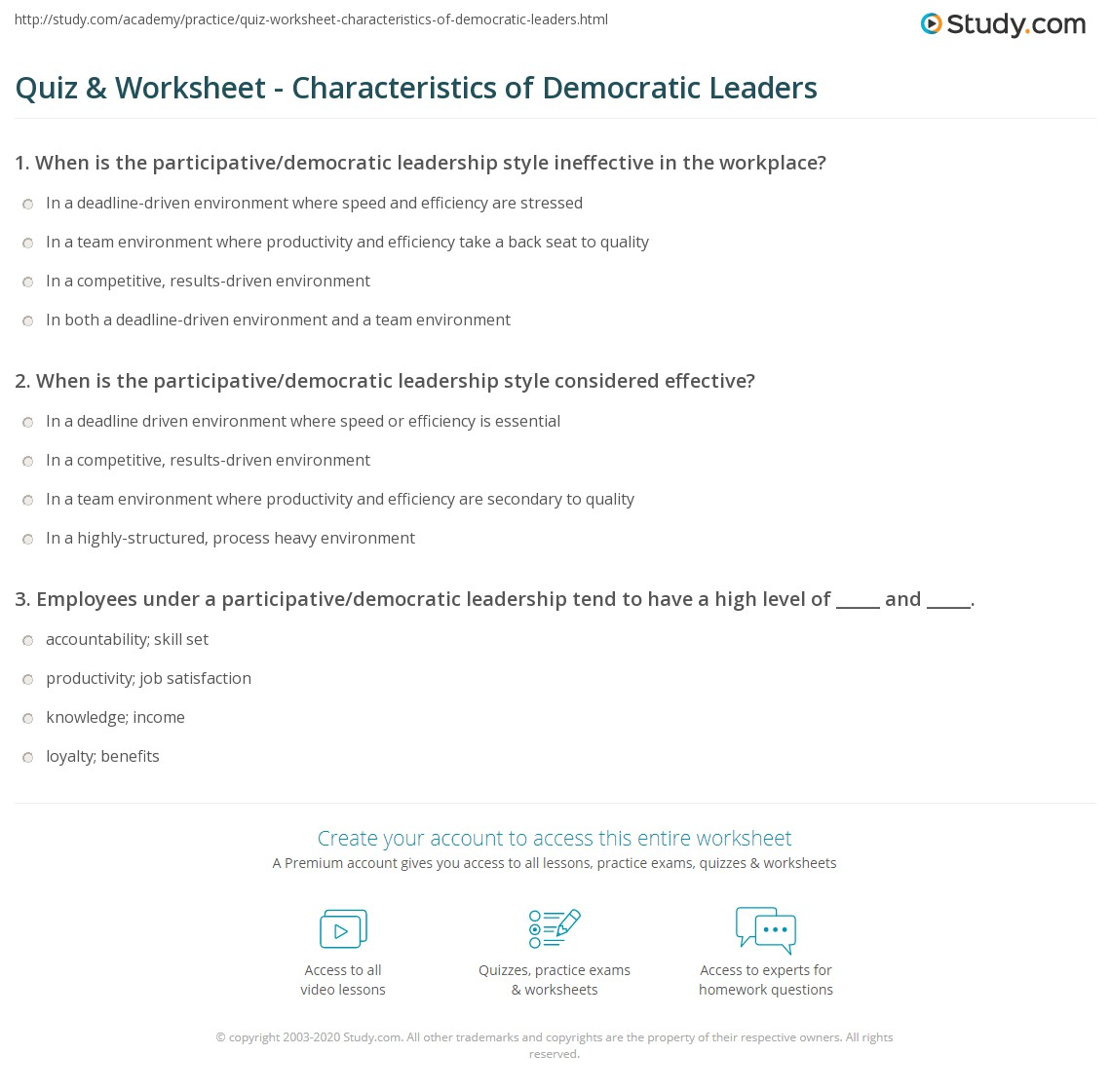 Quiz Worksheet Characteristics of Democratic Leaders – Leadership Worksheets