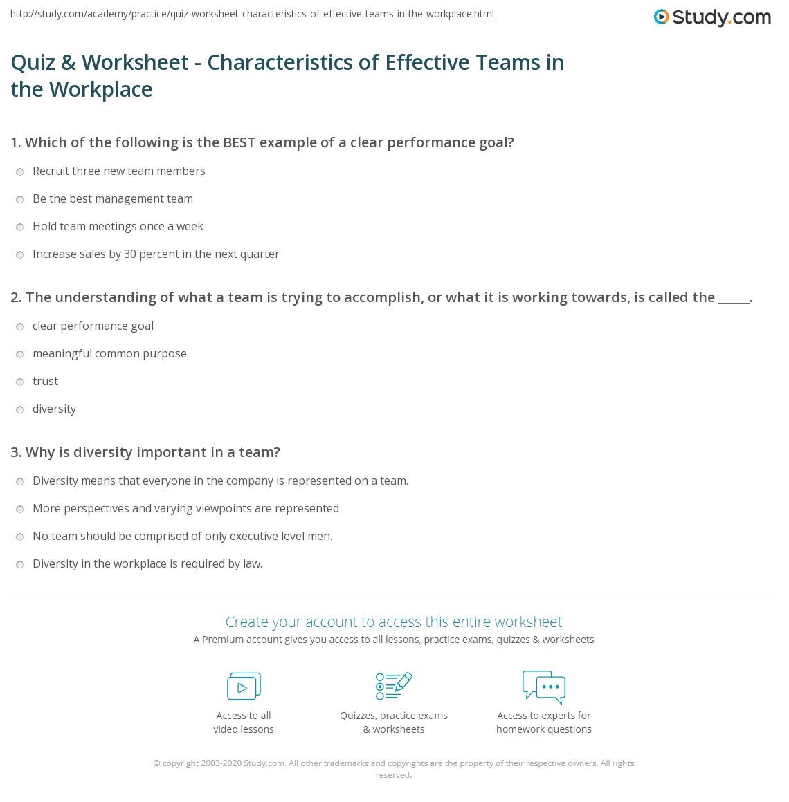 quiz worksheet characteristics of effective teams in the print characteristics of effective teams examples and qualities worksheet