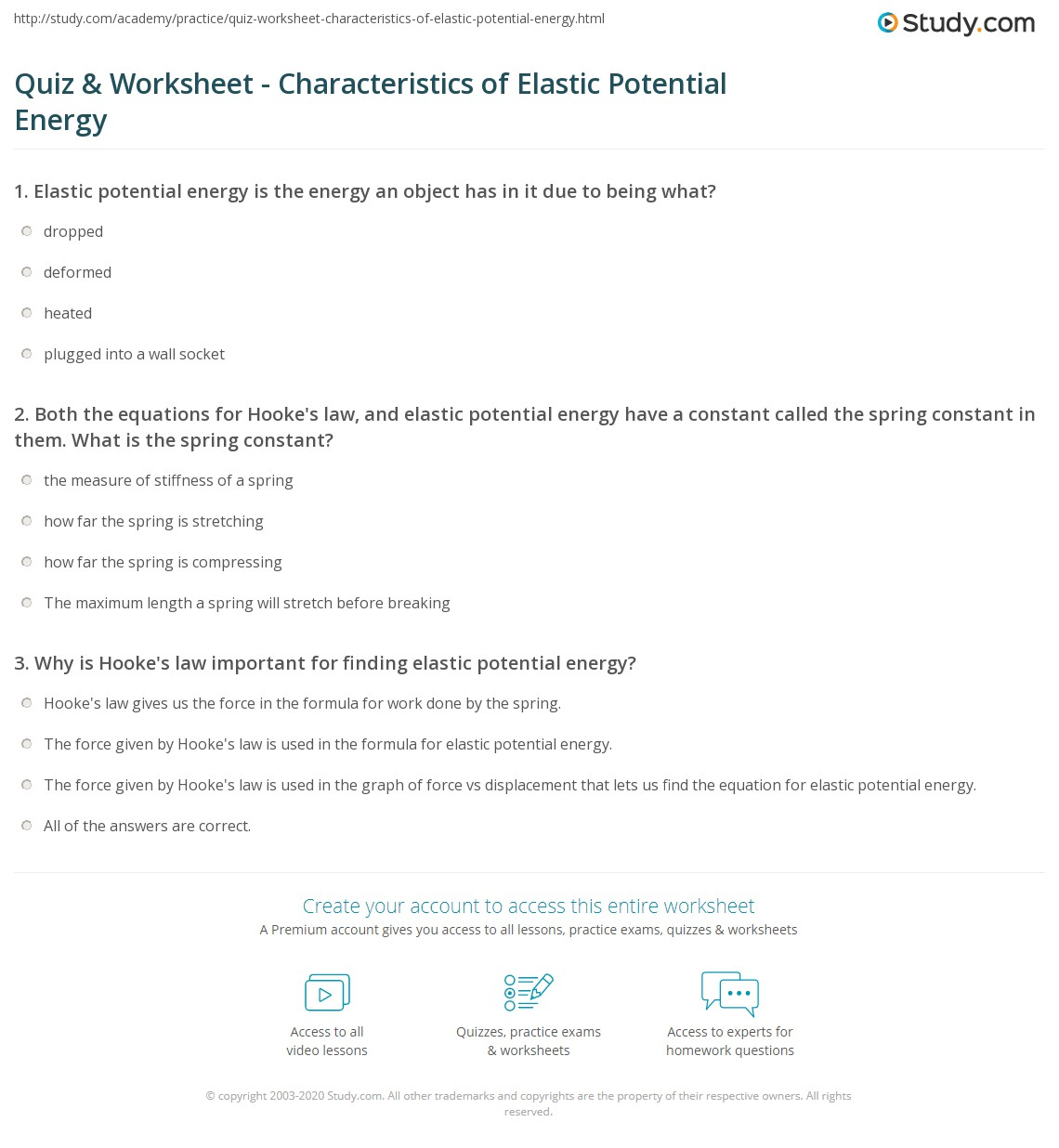 Quiz Worksheet Characteristics of Elastic Potential Energy – Energy Worksheet Answers