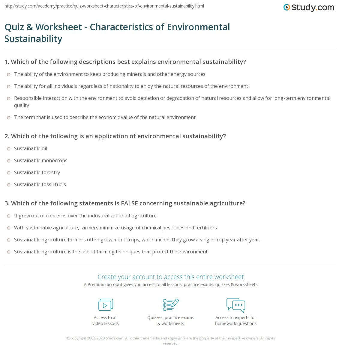 Quiz & Worksheet - Characteristics of Environmental Sustainability ...