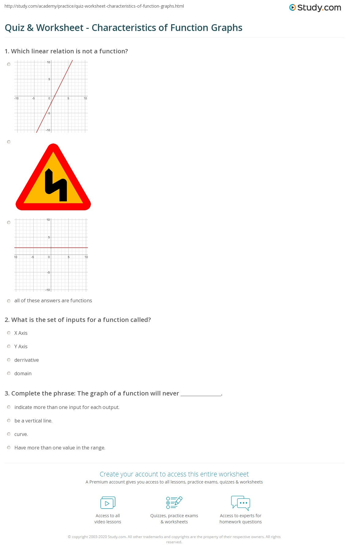 math worksheet : quiz  worksheet  characteristics of function graphs  study  : Functional Skills Maths Level 2 Worksheets