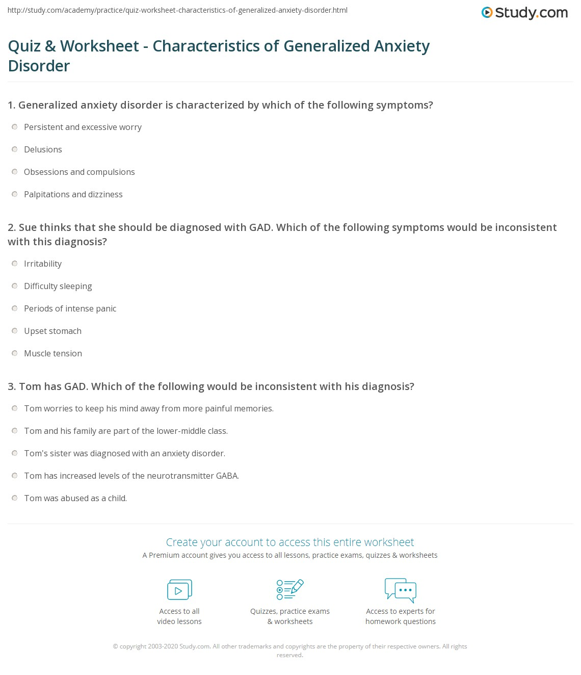 worksheet Anxiety Management Worksheets anxiety for adults worksheet and handouts printable blog quiz characteristics of generalized disorder