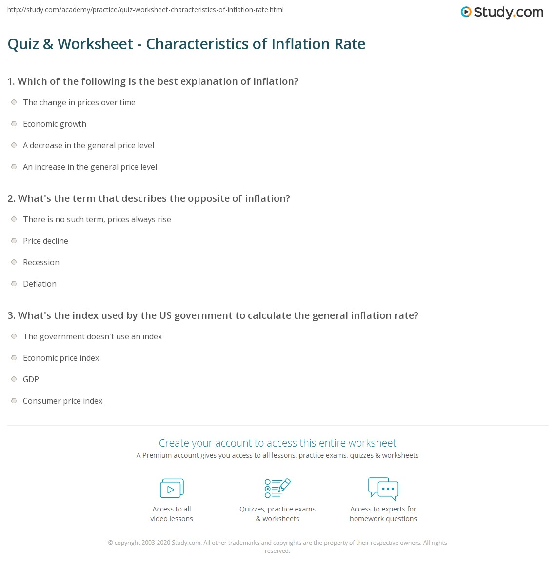 Quiz & Worksheet - Characteristics of Inflation Rate | Study.com