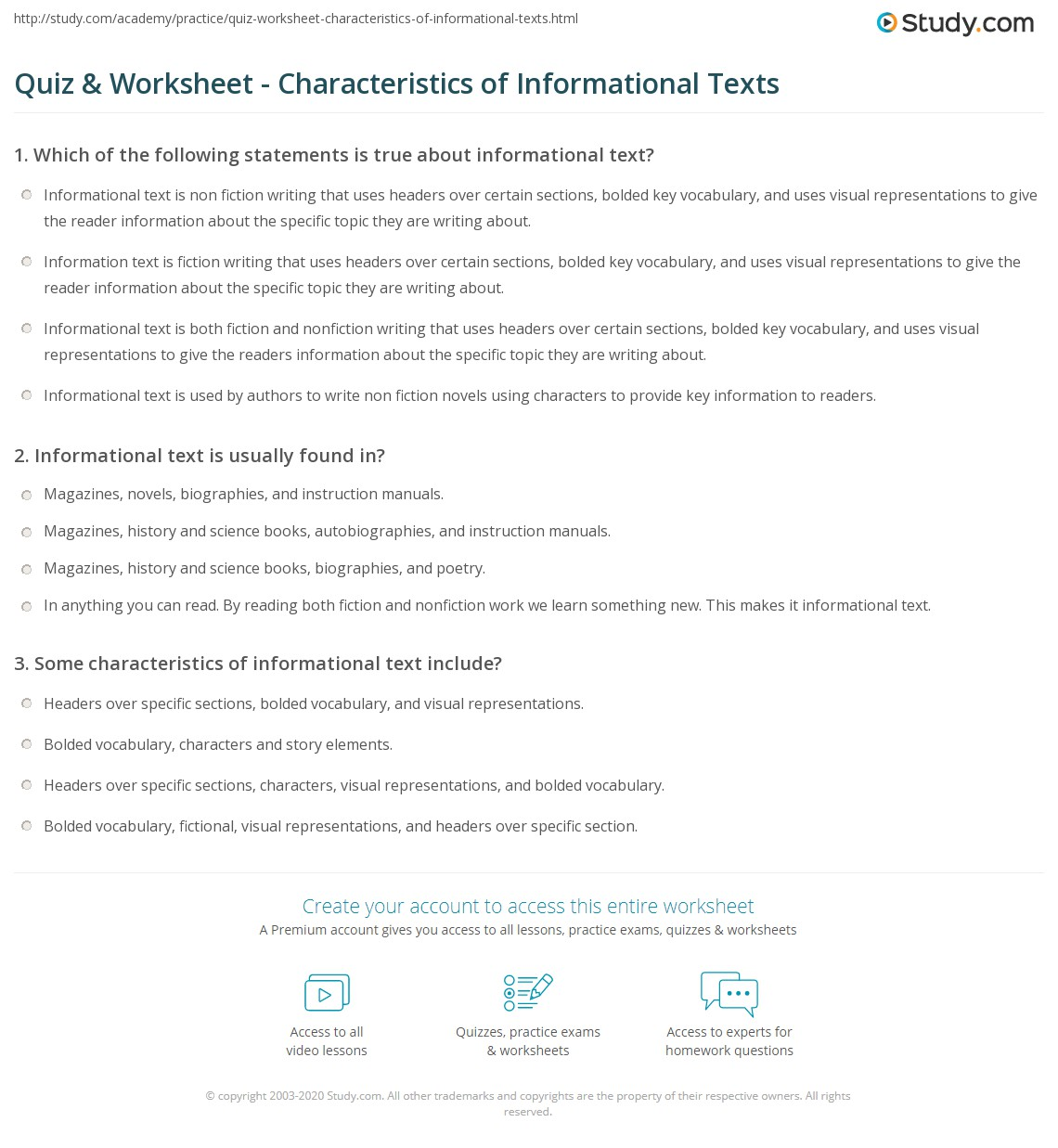 Quiz Worksheet Characteristics of Informational Texts – Elements of Fiction Worksheet