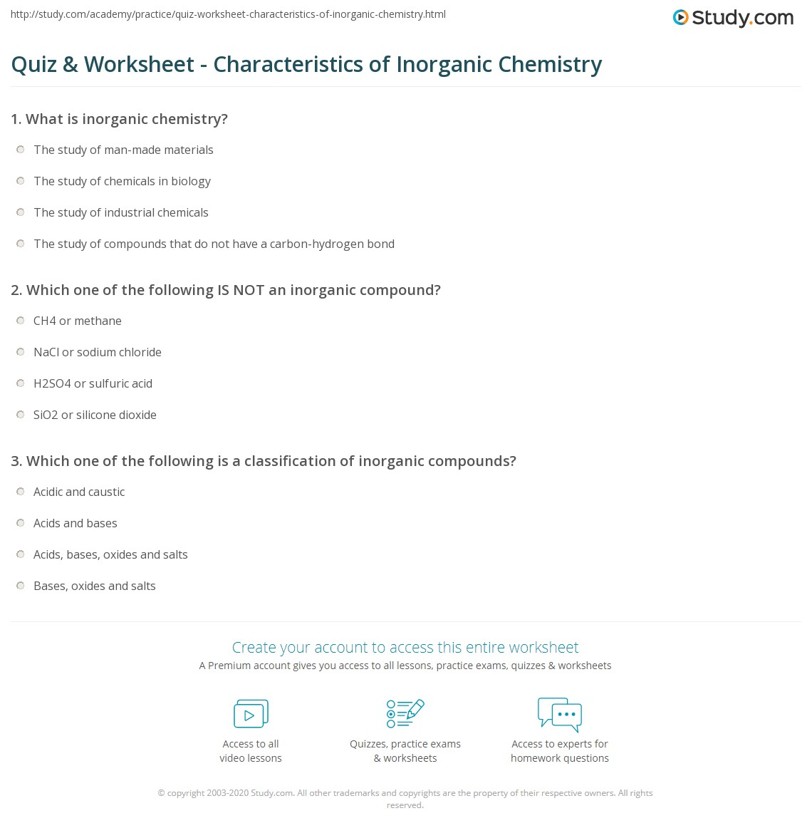 quiz worksheet characteristics of inorganic chemistry com print what is inorganic chemistry definition impact factor examples worksheet