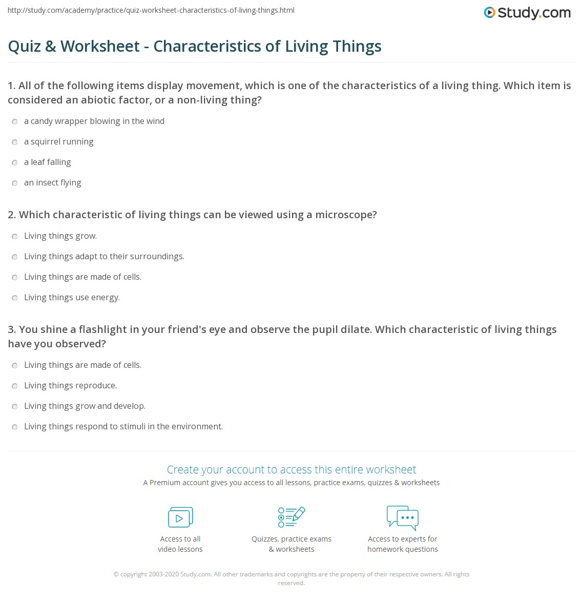 Quiz Worksheet Characteristics of Living Things – Living Things Worksheet