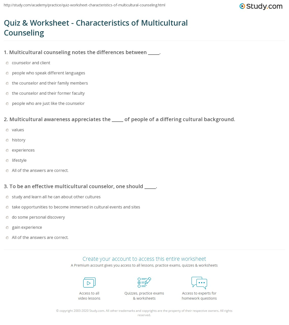 quiz worksheet characteristics of multicultural counseling print what is multicultural counseling worksheet