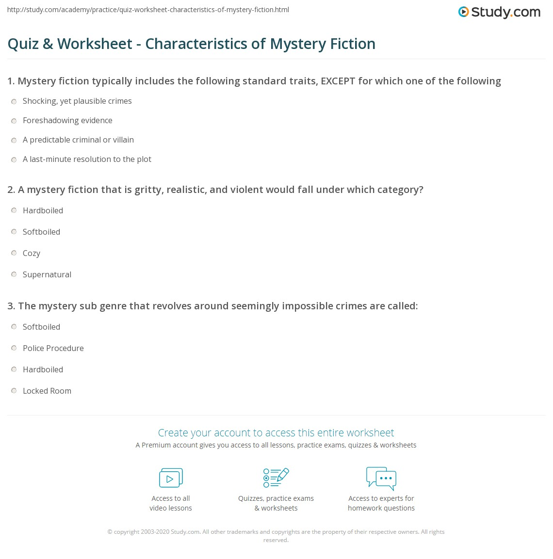 quiz worksheet characteristics of mystery fiction com print mystery fiction definition books authors worksheet