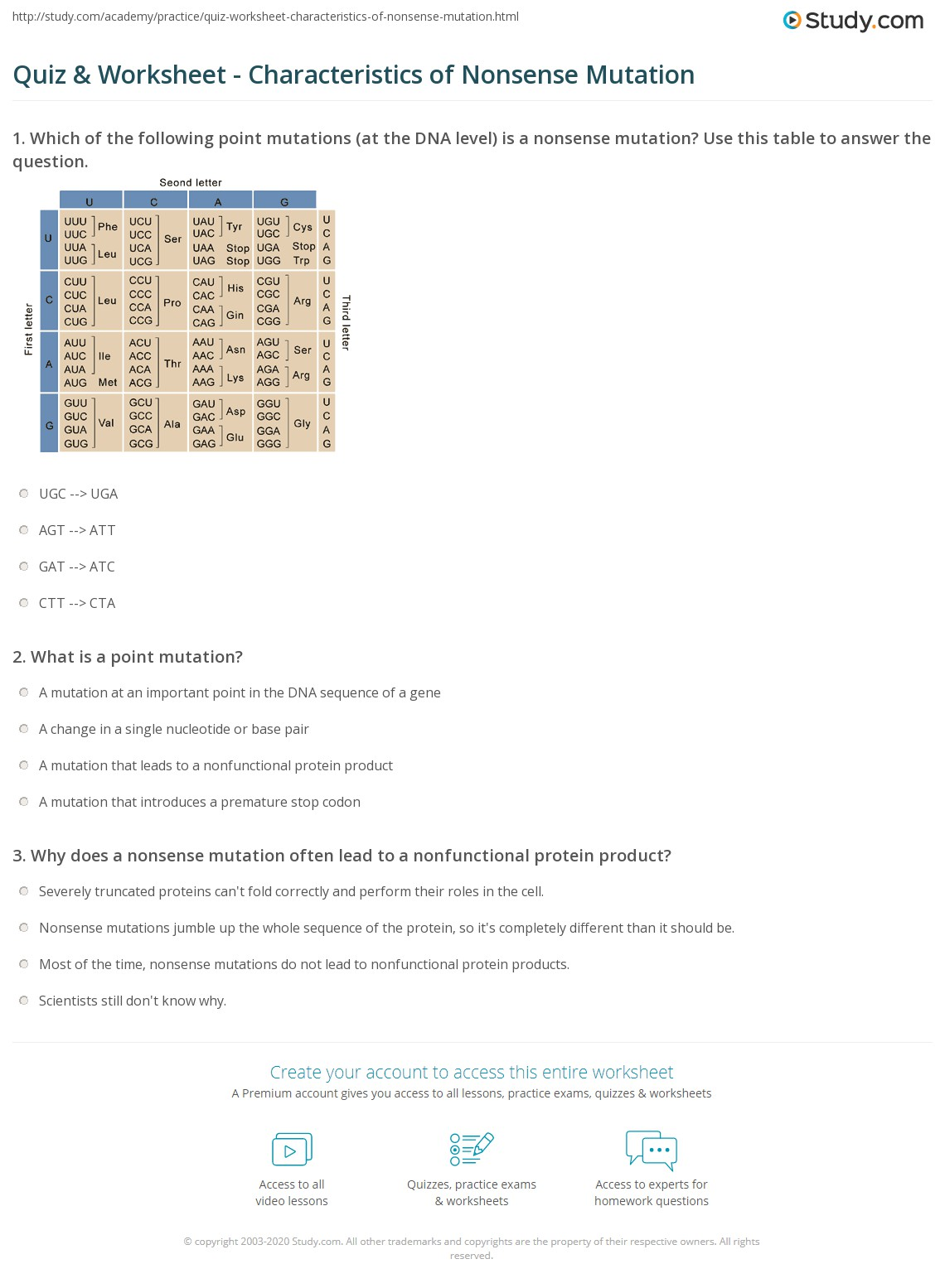 Quiz Worksheet Characteristics of Nonsense Mutation – Genetic Mutations Worksheet