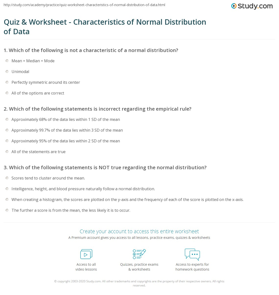 Quiz Worksheet Characteristics of Normal Distribution of Data – Empirical Rule Worksheet