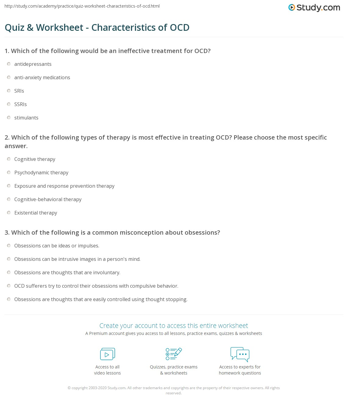 Quiz Worksheet Characteristics of OCD – Thought Stopping Worksheet