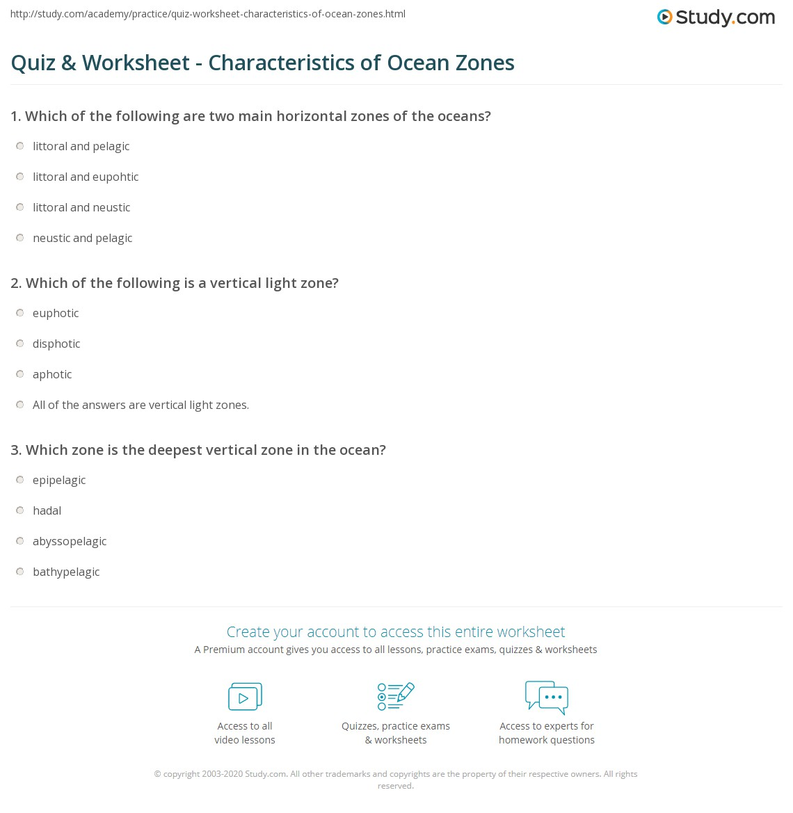 worksheet Ocean Worksheets quiz worksheet characteristics of ocean zones study com print different worksheet