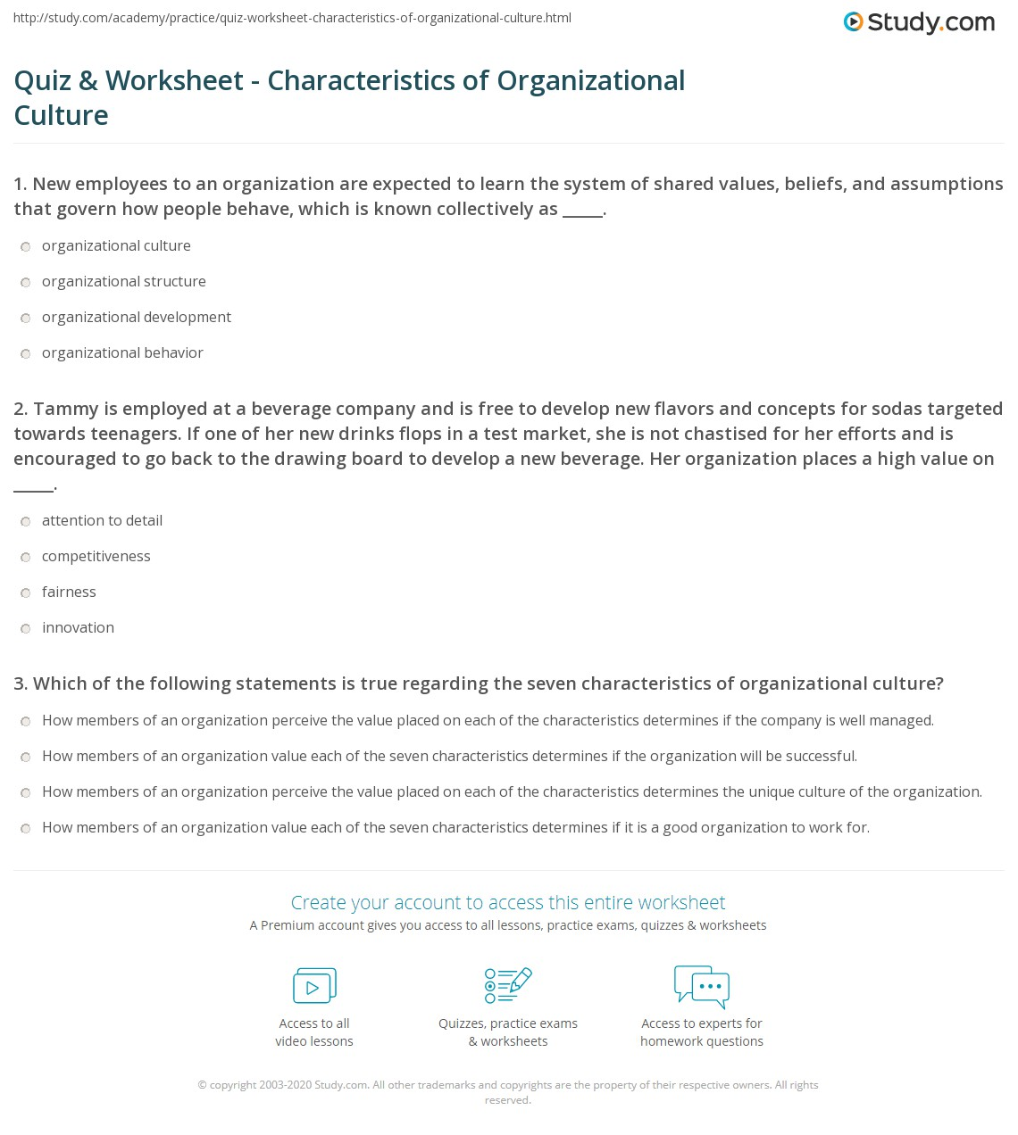 Quiz & Worksheet - Characteristics of Organizational Culture ...