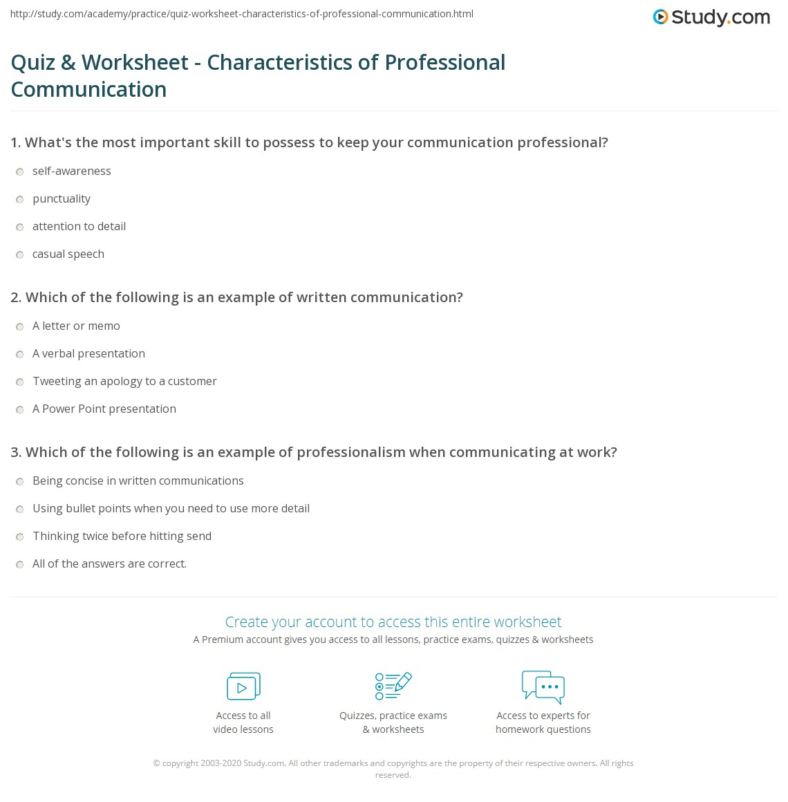 quiz worksheet characteristics of professional communication print what is professionalism in communication definition skills worksheet