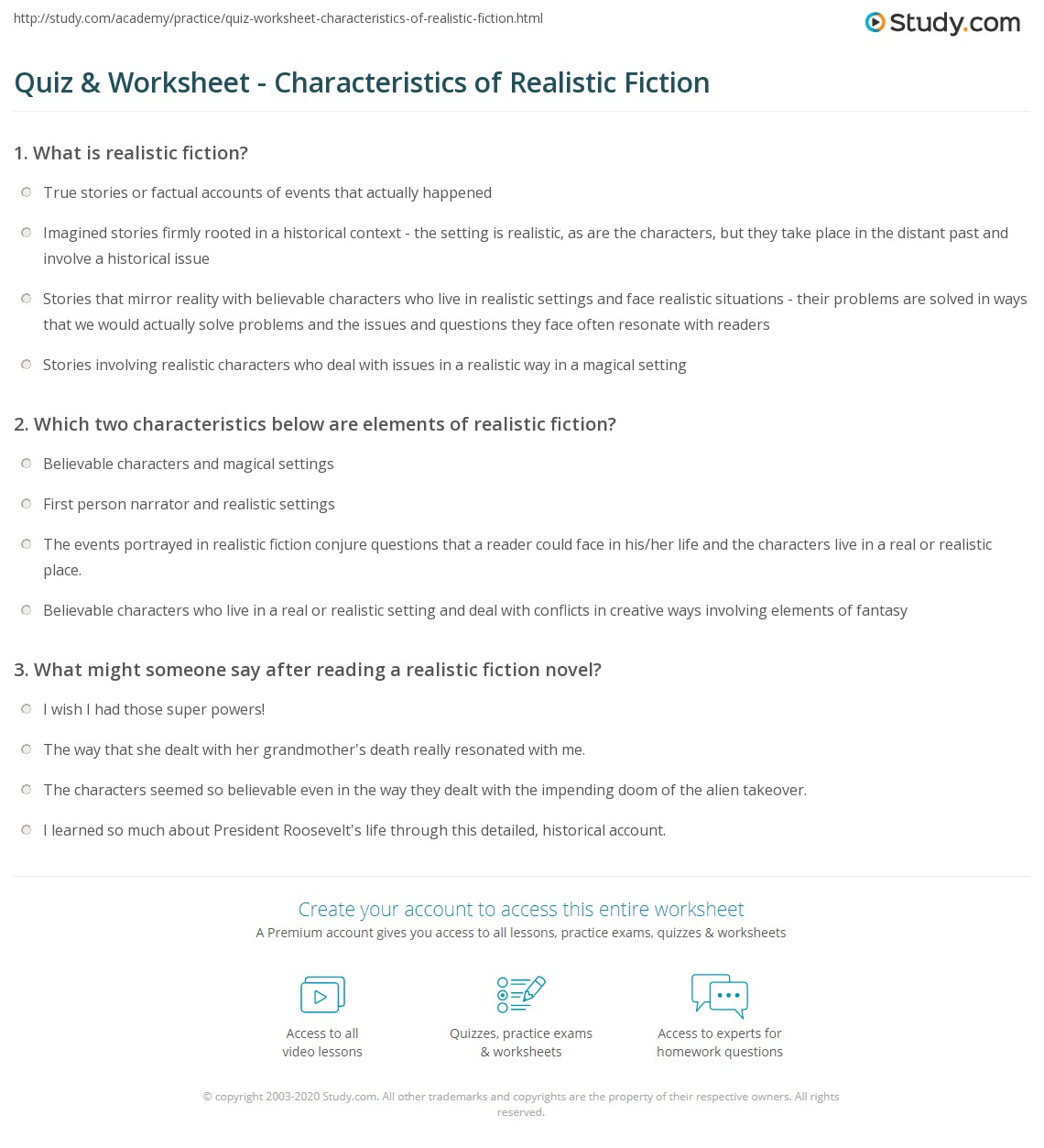 Worksheets Elements Of Fiction Worksheet quiz worksheet characteristics of realistic fiction study com print what is definition examples worksheet