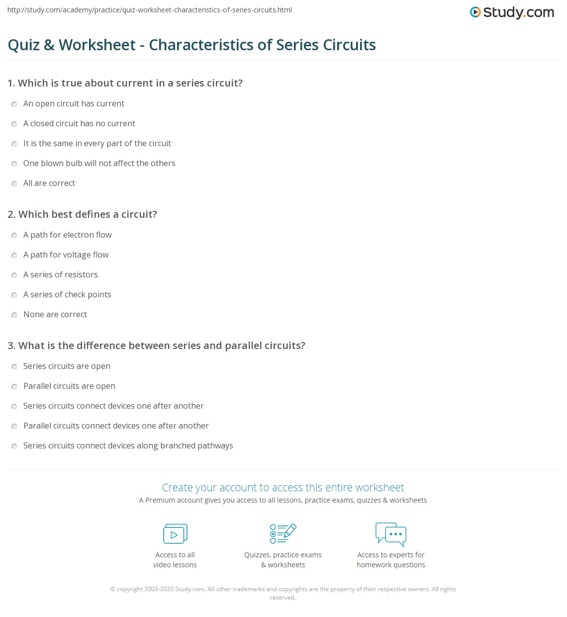 Quiz Worksheet Characteristics of Series Circuits – Series Parallel Circuit Worksheet