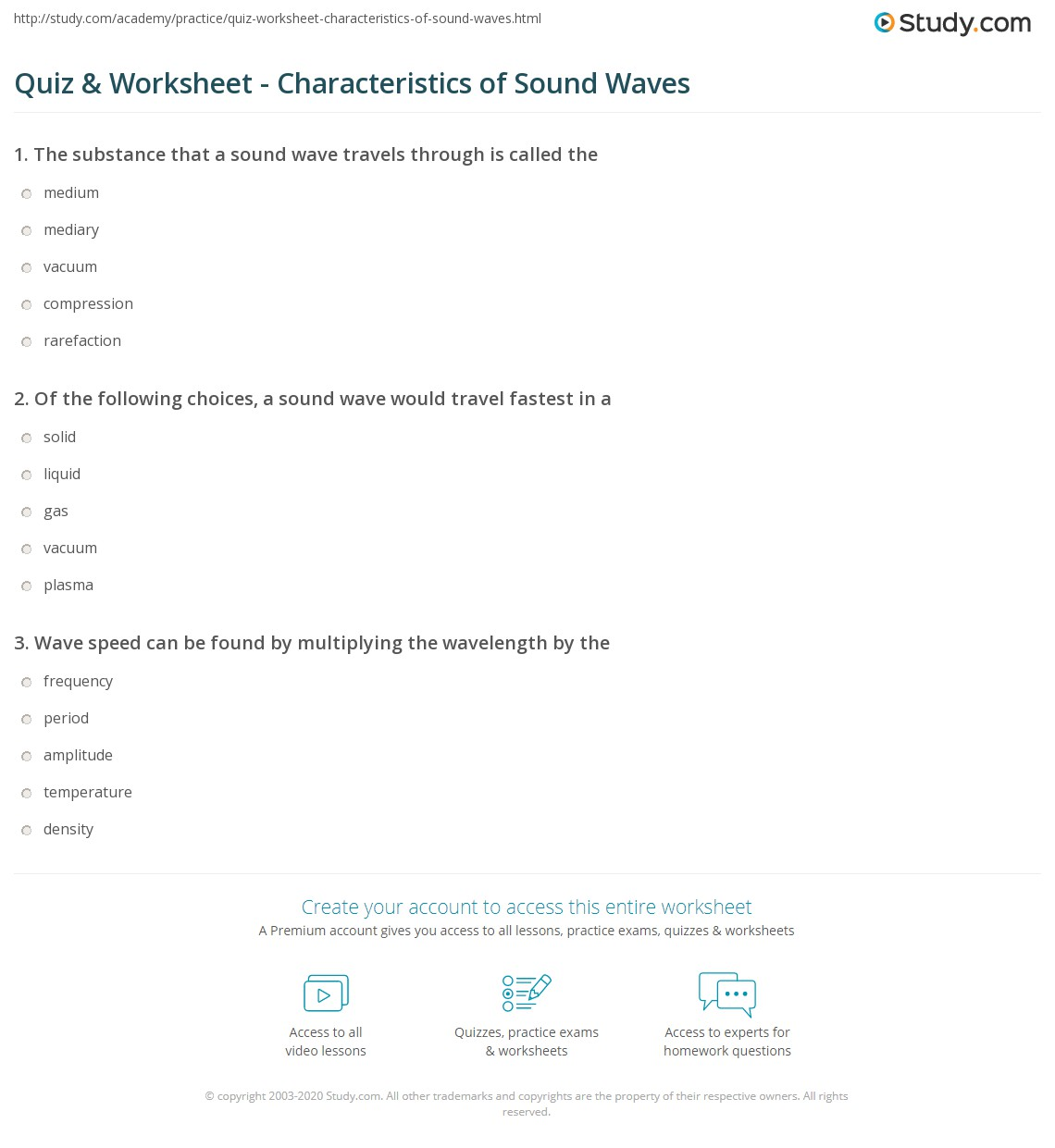 Quiz & Worksheet - Characteristics of Sound Waves | Study.com