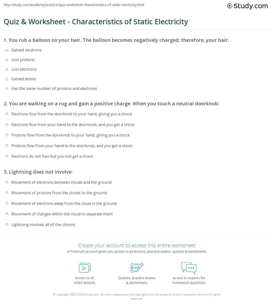Quiz and Worksheet Characteristics of Static Electricity – Electricity Worksheets