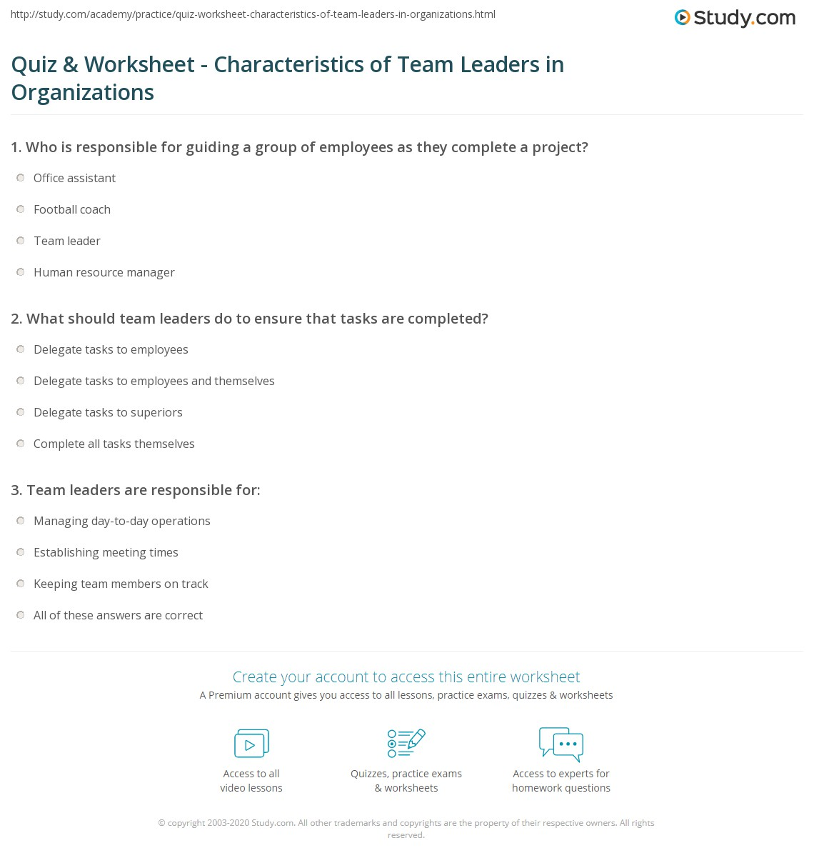 quiz worksheet characteristics of team leaders in print what is a team leader description role responsibilities worksheet