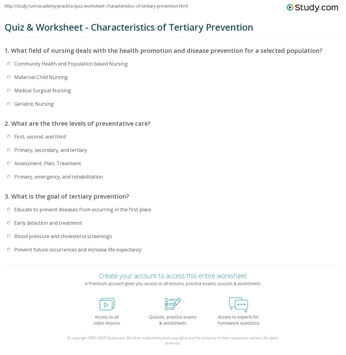 quiz & worksheet - characteristics of tertiary prevention | study, Human Body