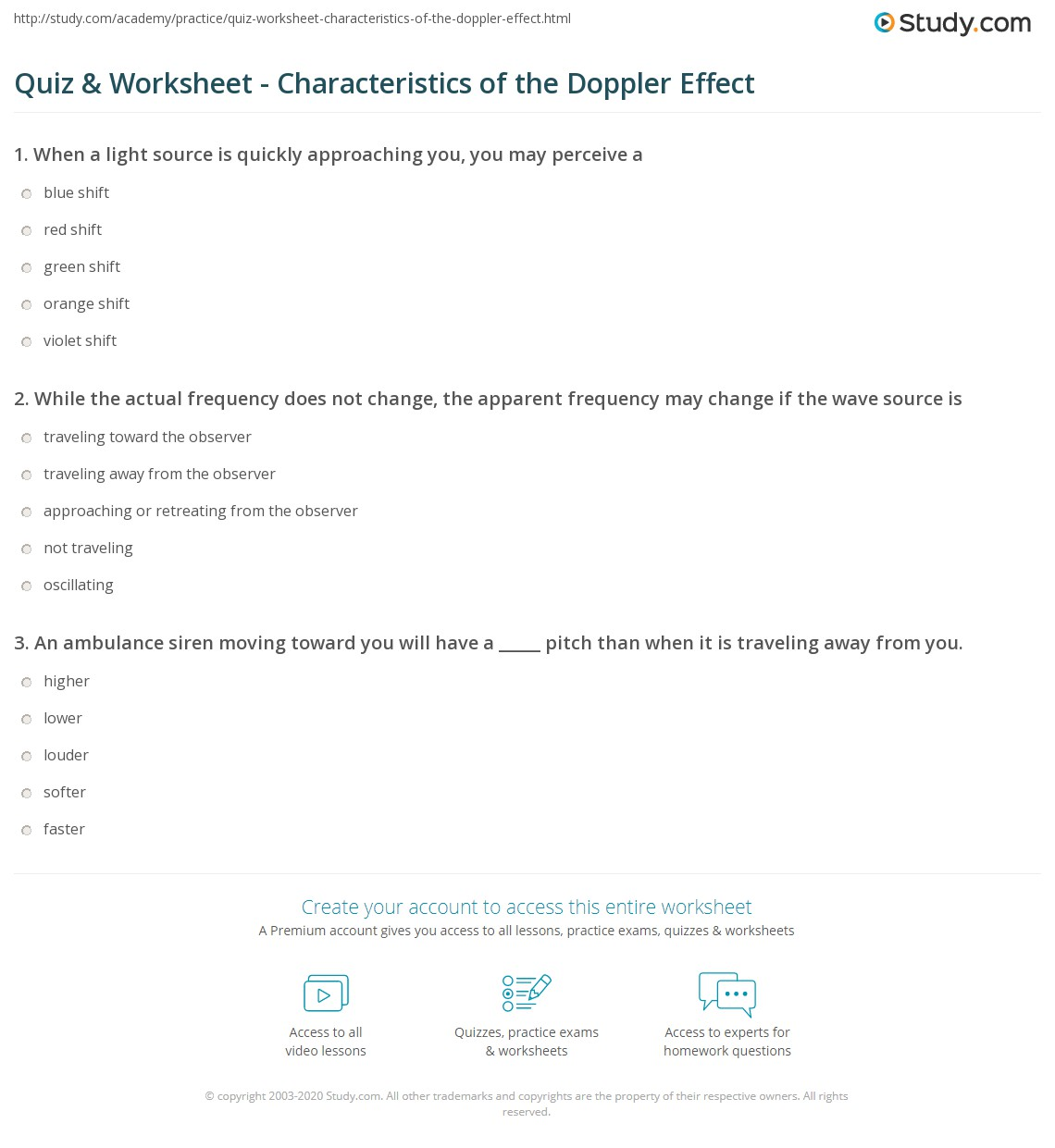 Worksheets Doppler Effect Worksheet quiz worksheet characteristics of the doppler effect study com print definition examples applications worksheet