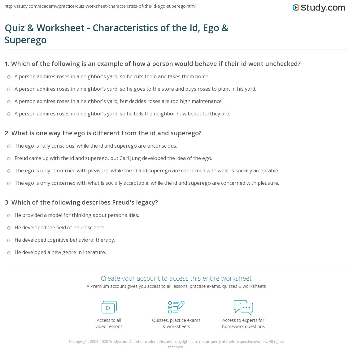 Worksheets Freud Ego Superego Id Worksheet quiz worksheet characteristics of the id ego superego print and worksheet