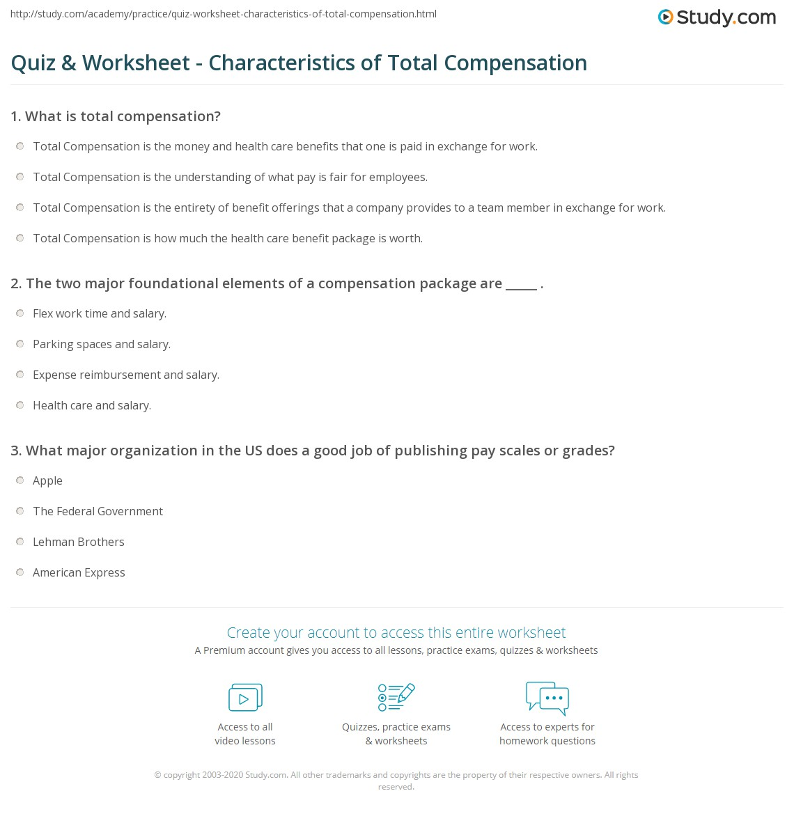 quiz worksheet characteristics of total compensation com the two major foundational elements of a compensation package are