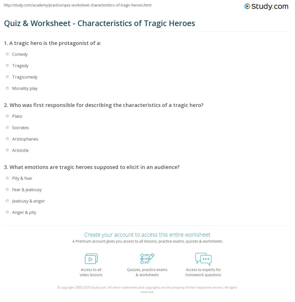 tragic hero worksheet  quiz worksheet characteristics of tragic heroes study com