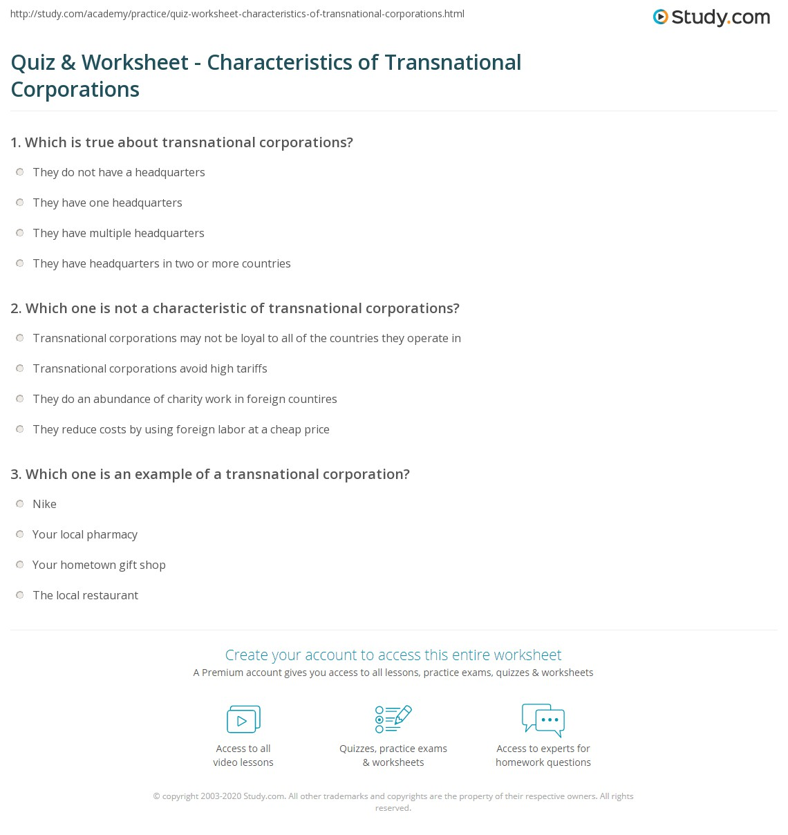 quiz worksheet characteristics of transnational corporations. Black Bedroom Furniture Sets. Home Design Ideas