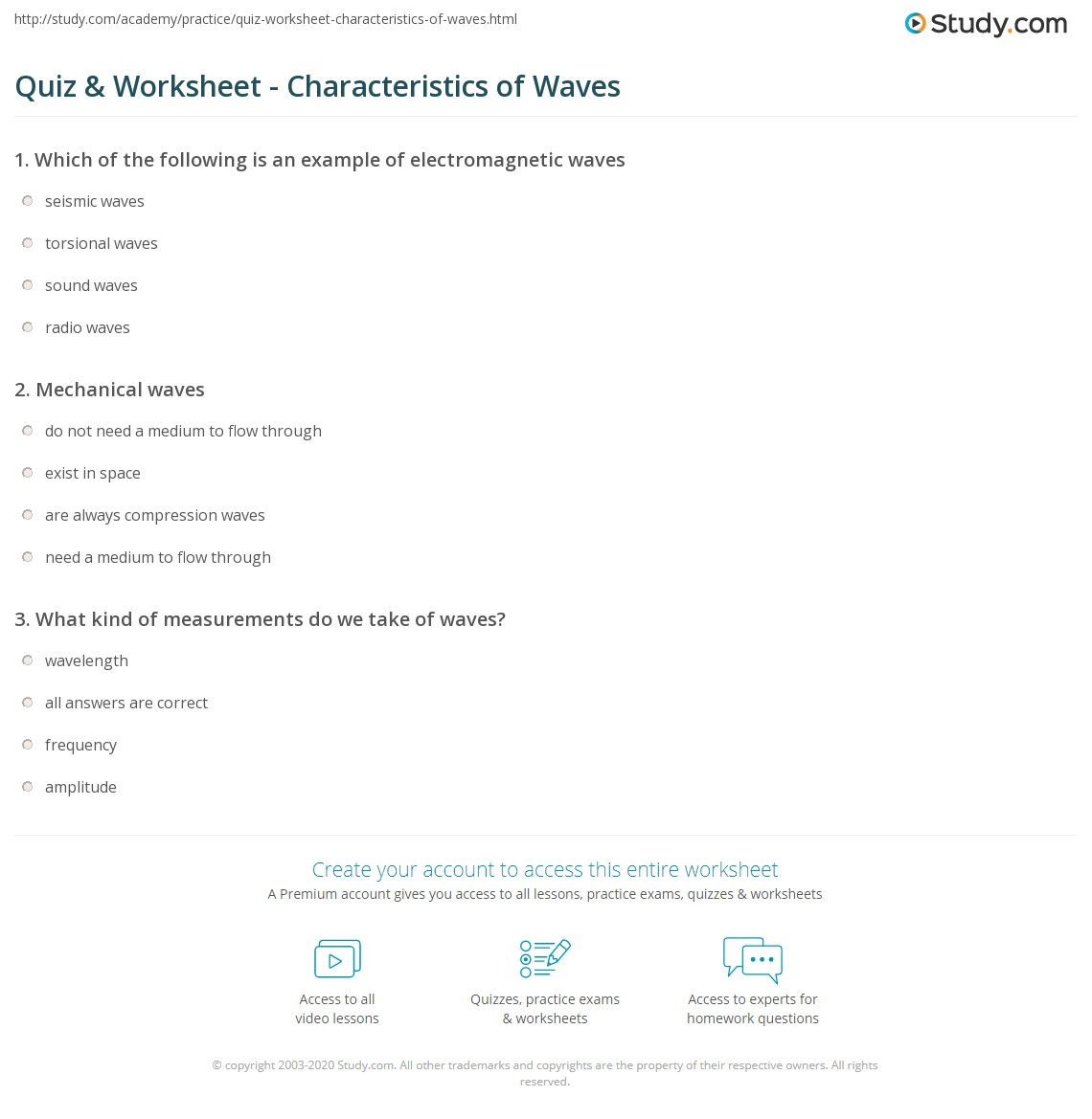 {Quiz Worksheet Characteristics of Waves – Wave Properties Worksheet