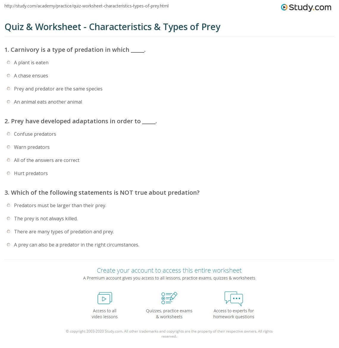 quiz worksheet characteristics types of prey. Black Bedroom Furniture Sets. Home Design Ideas