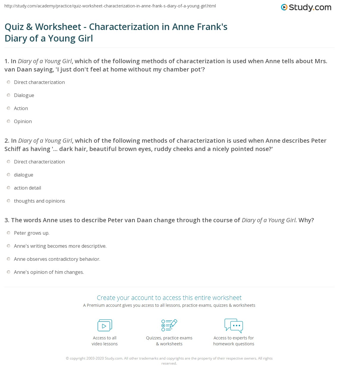 Printables Diary Of Anne Frank Worksheets quiz worksheet characterization in anne franks diary of a young girl which the following methods is used when describes peter schiff as havi