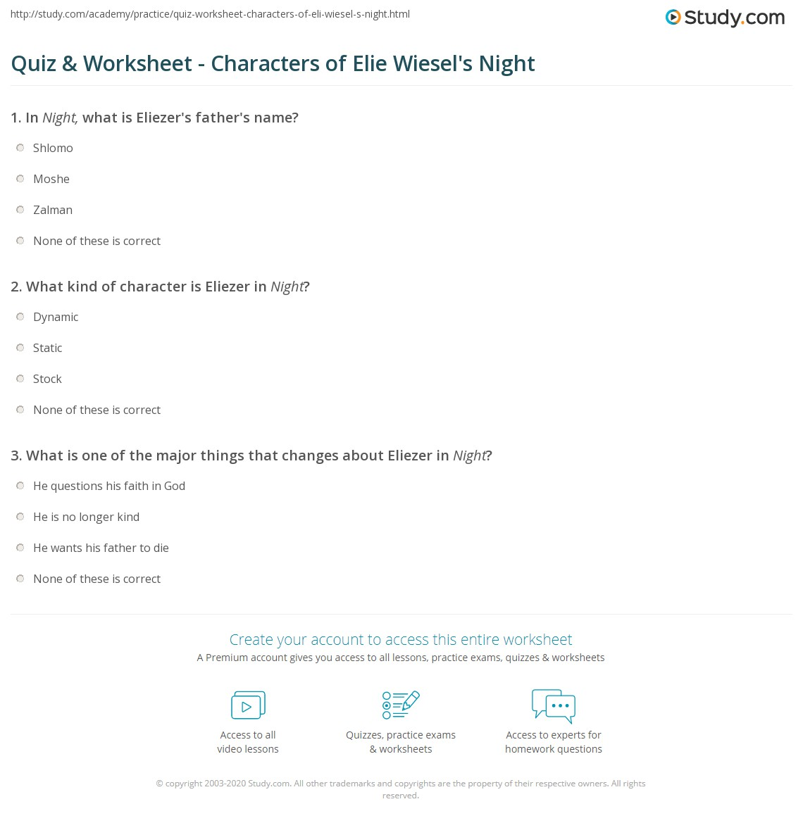 Worksheet Night Elie Wiesel Worksheets quiz worksheet characters of elie wiesels night study com print worksheet