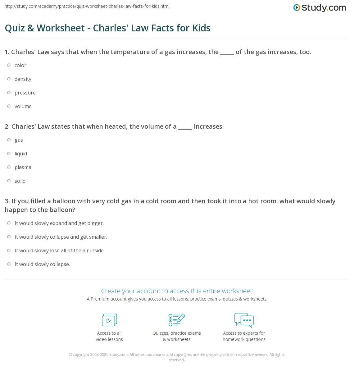 Worksheets Charles Law Worksheet Answers quiz worksheet charles law facts for kids study com print lesson worksheet