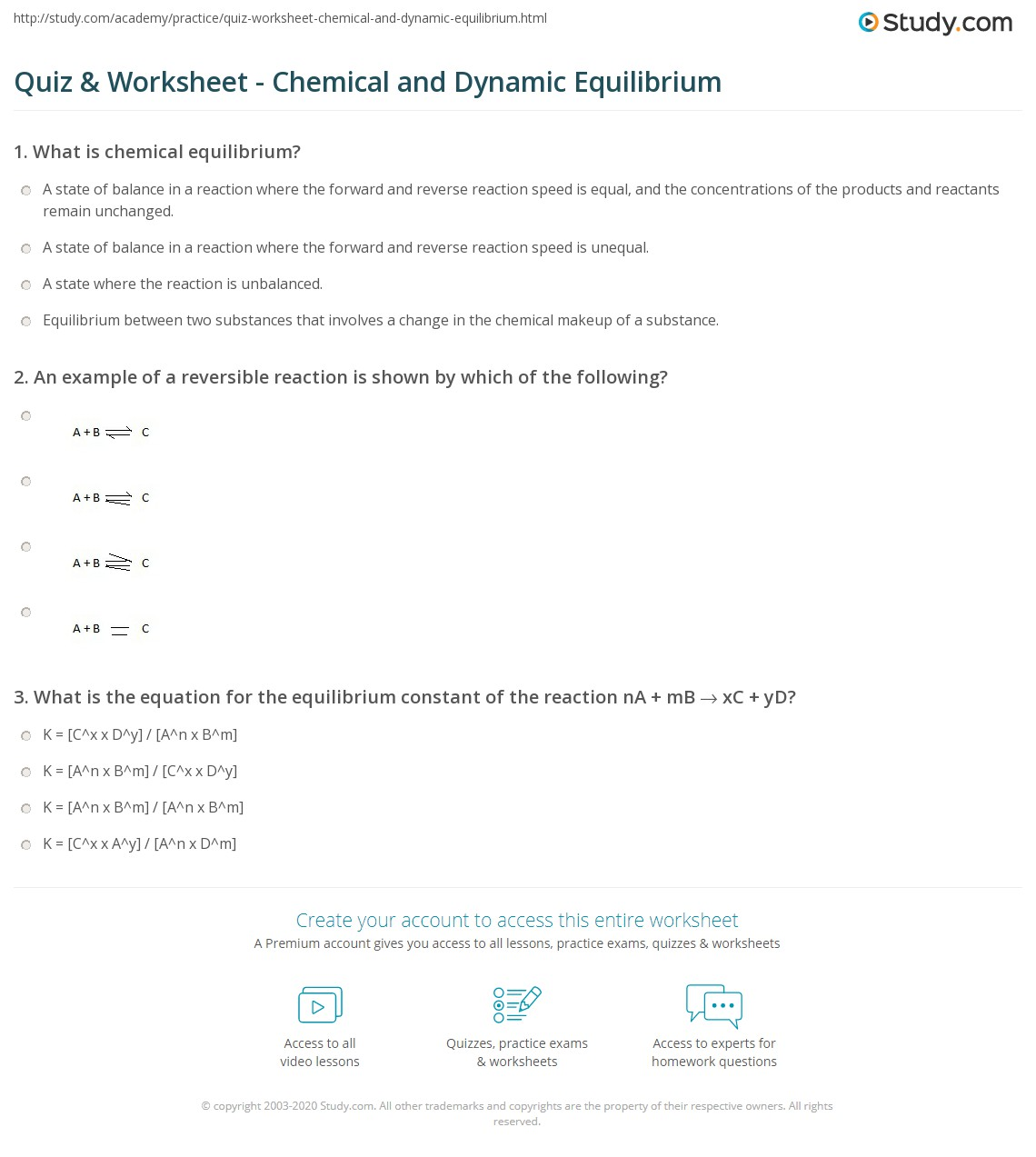 Quiz Worksheet Chemical and Dynamic Equilibrium – Equilibrium Worksheet