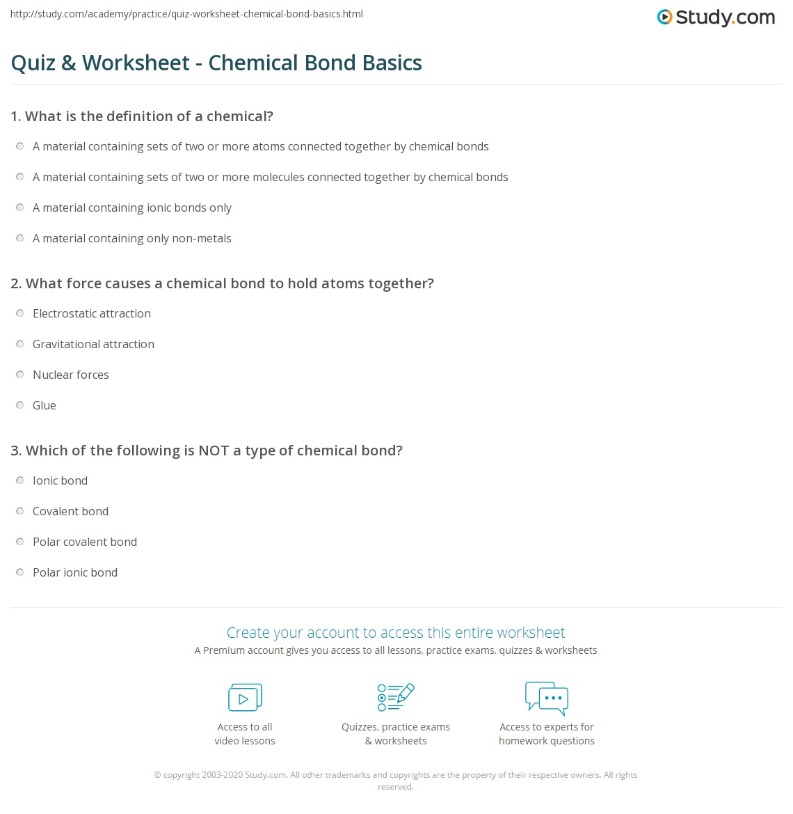 Quiz Worksheet Chemical Bond Basics – Chemical Bond Worksheet