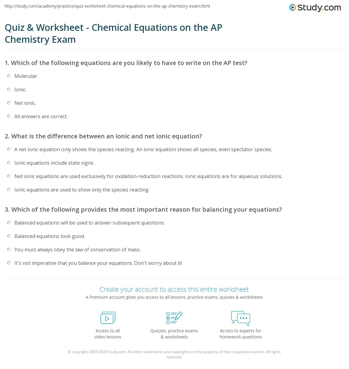 Quiz Worksheet Chemical Equations on the AP Chemistry Exam – Net Ionic Equations Worksheet