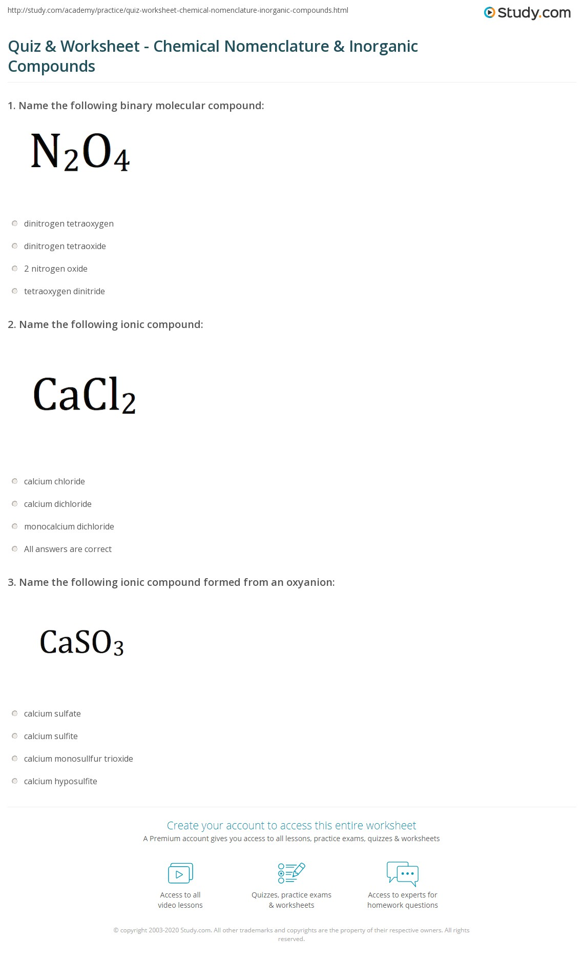 Quiz Worksheet Chemical Nomenclature Inorganic Compounds – Ionic Compound Naming Worksheet