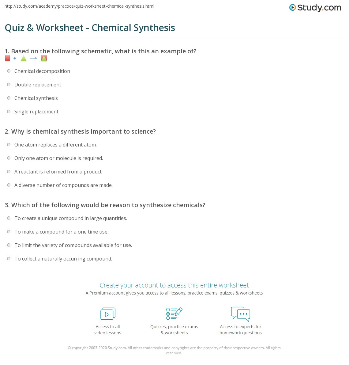 Quiz Worksheet Chemical Synthesis – Single Replacement Worksheet