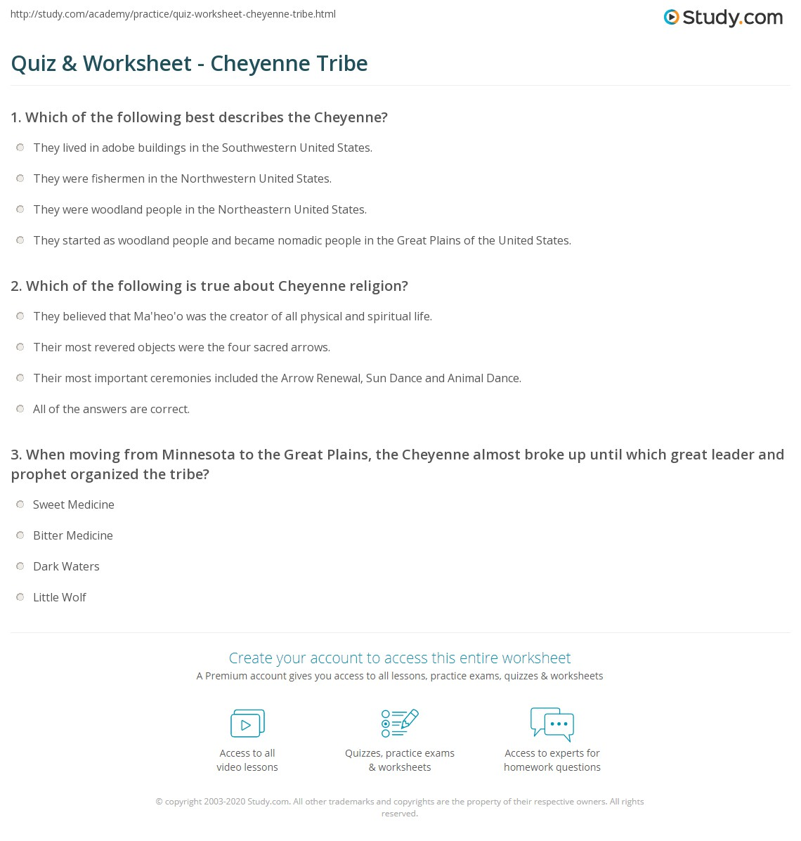 Quiz & Worksheet - Cheyenne Tribe  Study.com math worksheets, education, multiplication, free worksheets, printable worksheets, and worksheets for teachers Plains Indians Worksheets 1265 x 1140