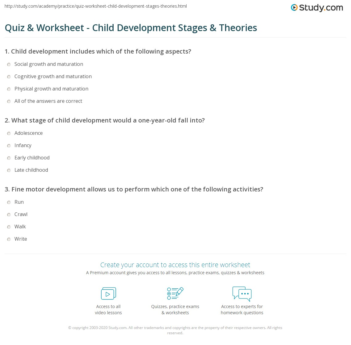 Quiz & Worksheet - Child Development Stages & Theories | Study.com