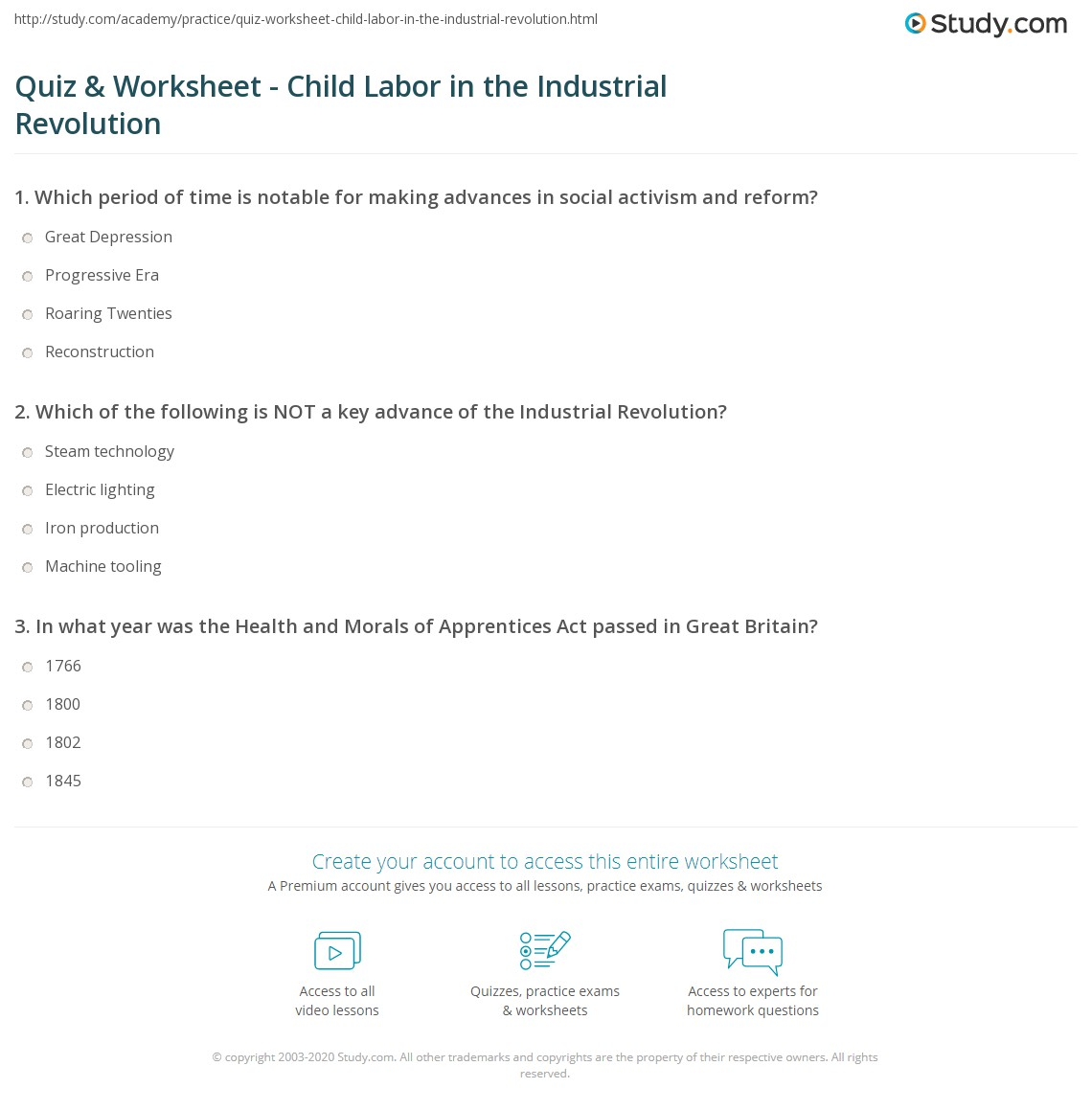 quiz worksheet child labor in the industrial revolution print child labor during the industrial revolution worksheet