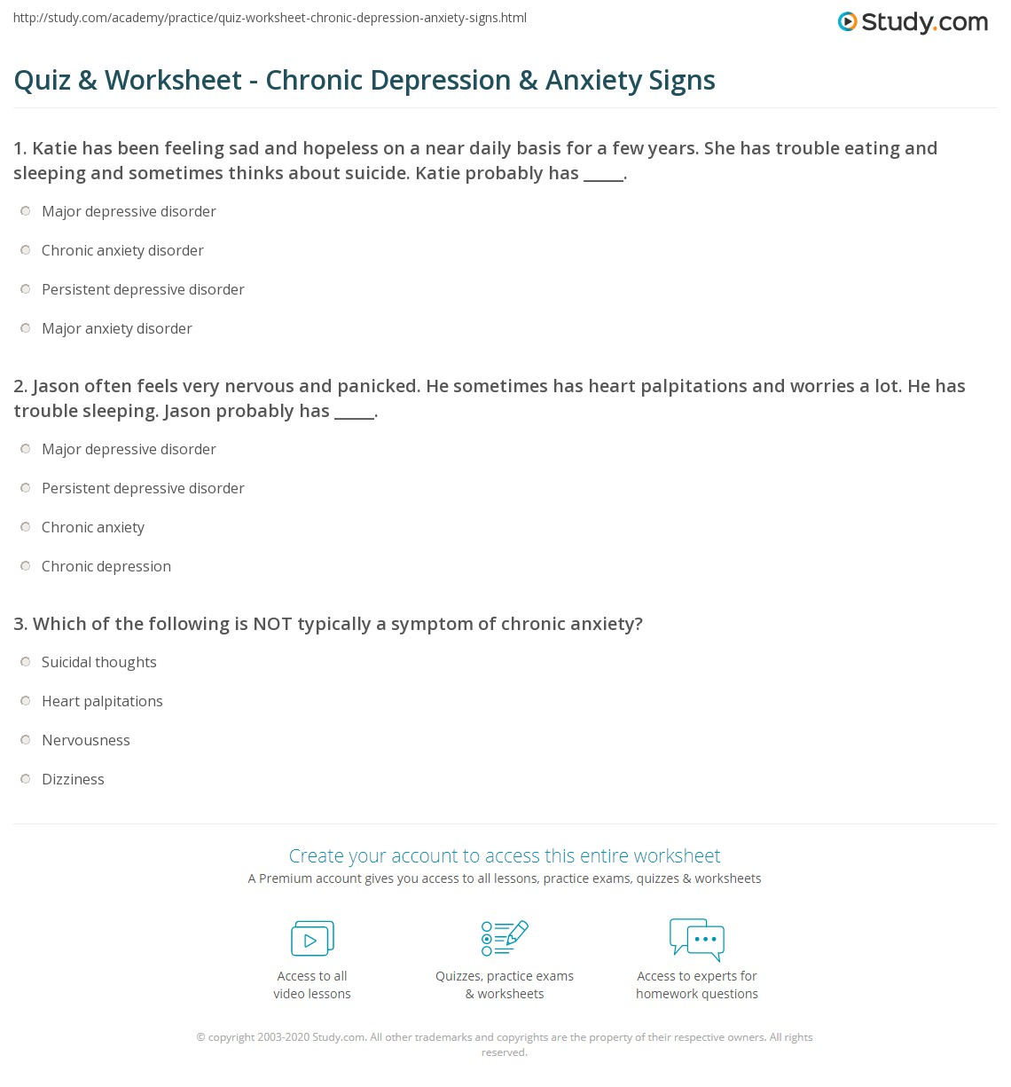 Uncategorized Co-occurring Disorders Worksheets quiz worksheet chronic depression anxiety signs study com print symptoms of worksheet