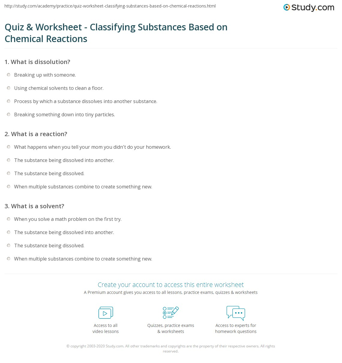 Quiz Worksheet Classifying Substances Based on Chemical – Classifying Reactions Worksheet