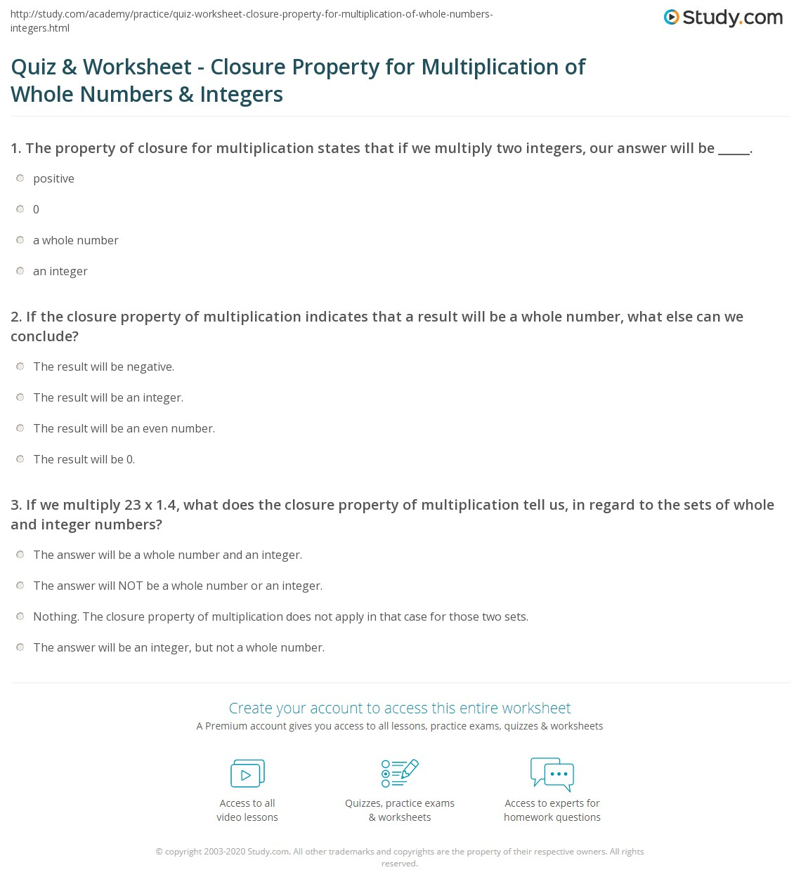 Quiz Worksheet Closure Property for Multiplication of Whole – Multiplication of Integers Worksheet
